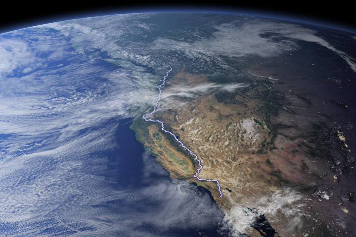 Trailing the Pacific Crest from Space
