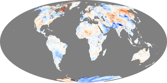 Global Map Land Surface Temperature Anomaly Image 100