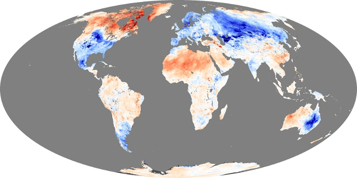 Global Map Land Surface Temperature Anomaly Image 92