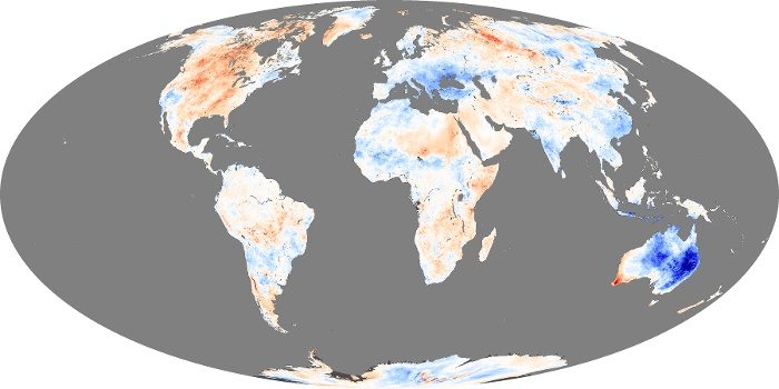 Global Map Land Surface Temperature Anomaly Image 129