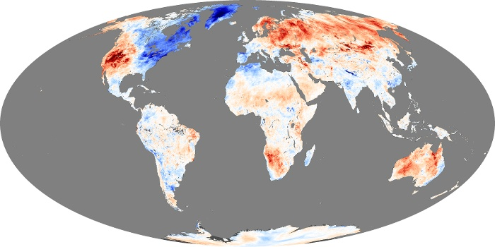 Global Map Land Surface Temperature Anomaly Image 181