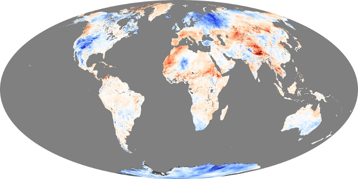 Global Map Land Surface Temperature Anomaly Image 186