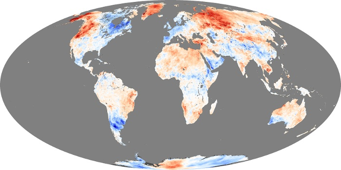 Global Map Land Surface Temperature Anomaly Image 166