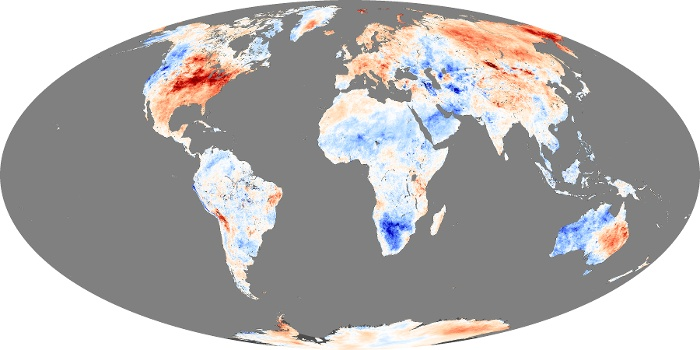 Global Map Land Surface Temperature Anomaly Image 205