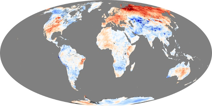 Global Map Land Surface Temperature Anomaly Image 206