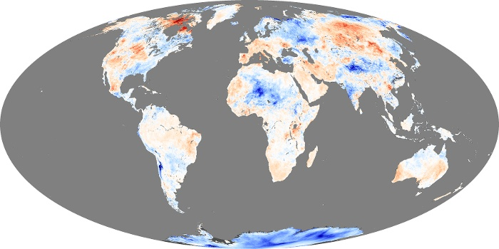 Global Map Land Surface Temperature Anomaly Image 209