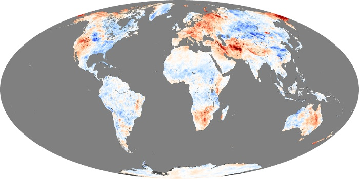 Global Map Land Surface Temperature Anomaly Image 216