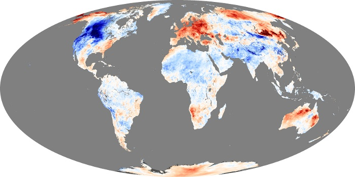 Global Map Land Surface Temperature Anomaly Image 229