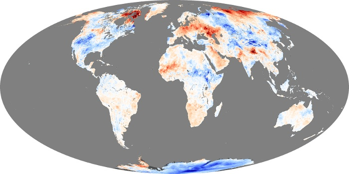 Global Map Land Surface Temperature Anomaly Image 233