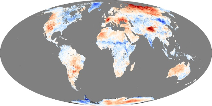 Global Map Land Surface Temperature Anomaly Image 219
