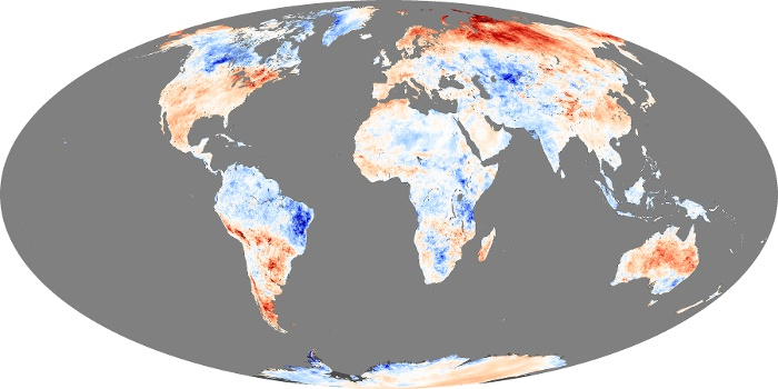 Global Map Land Surface Temperature Anomaly Image 250