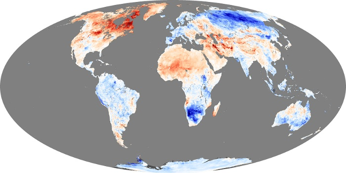 Global Map Land Surface Temperature Anomaly Image 252