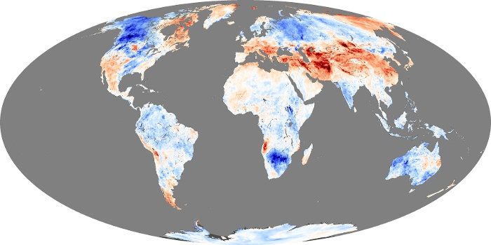 Global Map Land Surface Temperature Anomaly Image 253