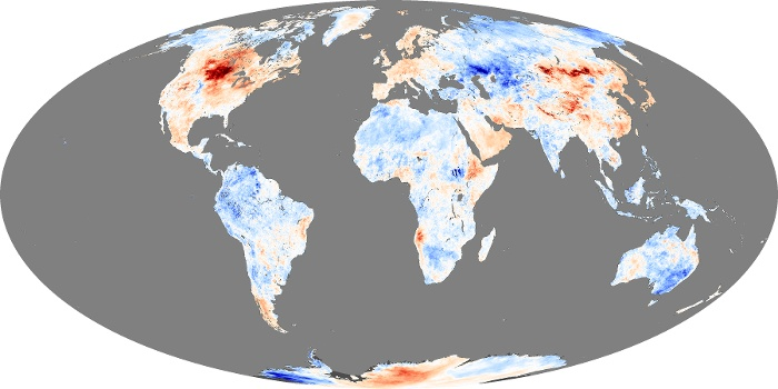 Global Map Land Surface Temperature Anomaly Image 225