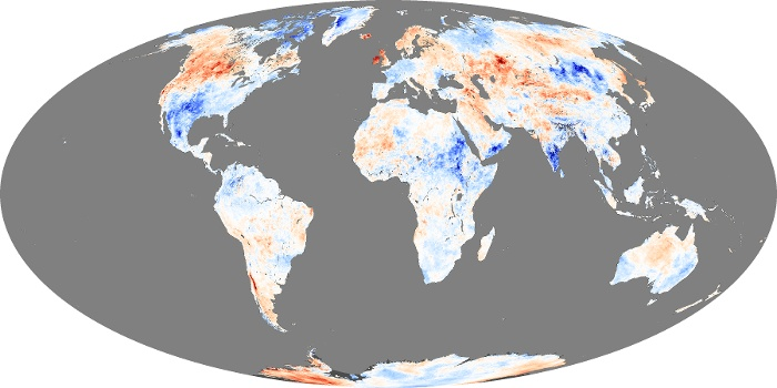 Global Map Land Surface Temperature Anomaly Image 258