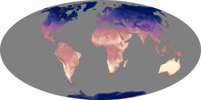 Global Map Land Surface Temperature Image 166