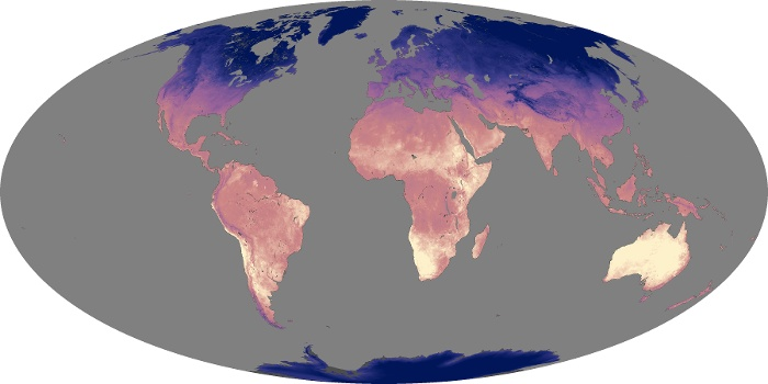 Global Map Land Surface Temperature Image 214
