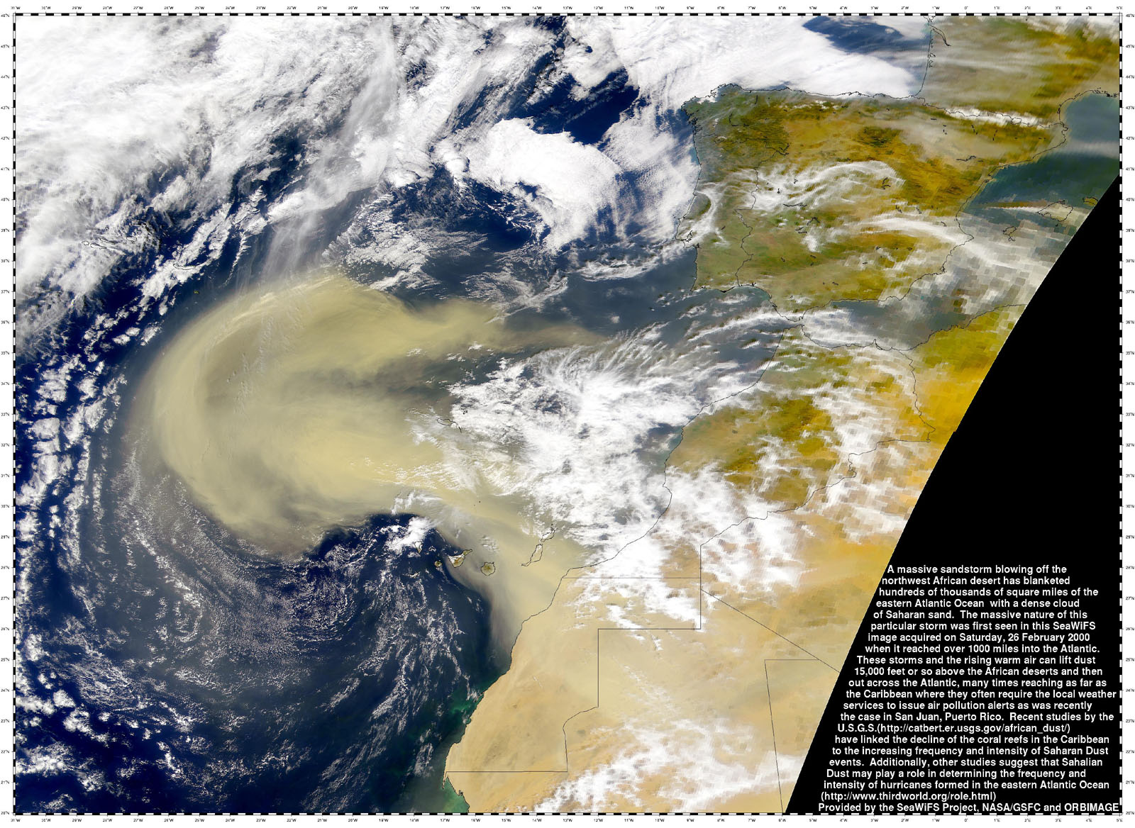 Dust Storm Sweeps from Africa into Atlantic - related image preview