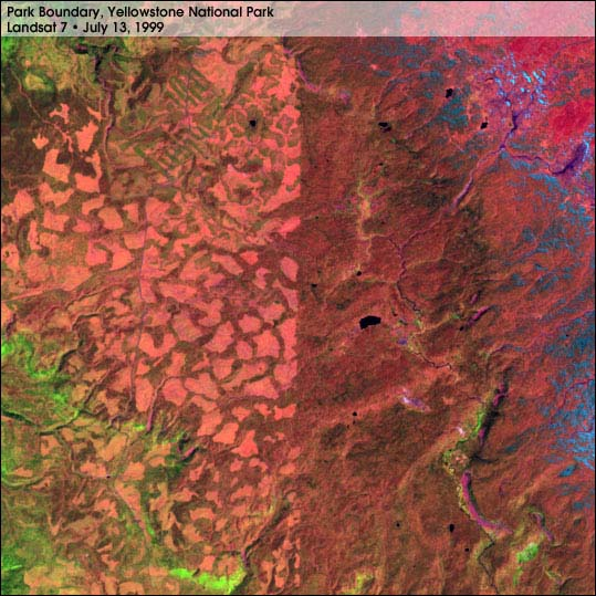 Yellowstone Park Boundary from Landsat 7