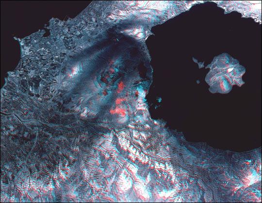 Stereo Image of Mt. Usu Volcano
