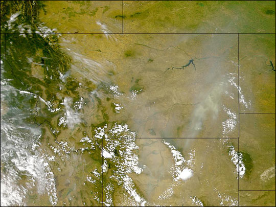 Smoke over Montana and Wyoming