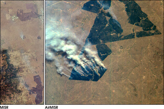 MISR and AirMISR Simultaneously Observe African Fires