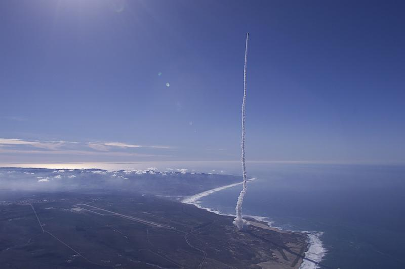 from above right show the launch of the boeing delta ii rocket from vandenberg air force base
