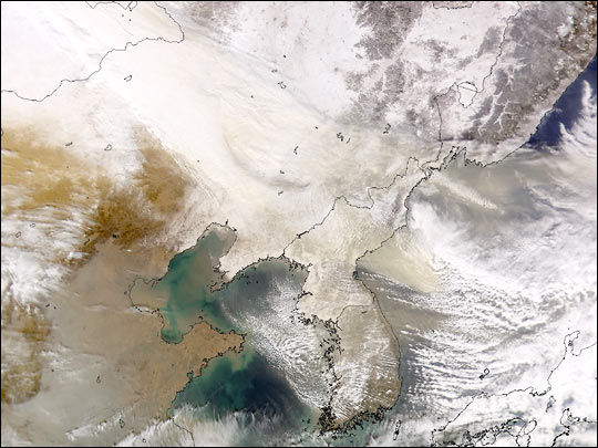 Snow and Dust over Inner Mongolia