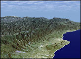 SRTM Perspective View with Landsat Overlay: Santa Barbara, California