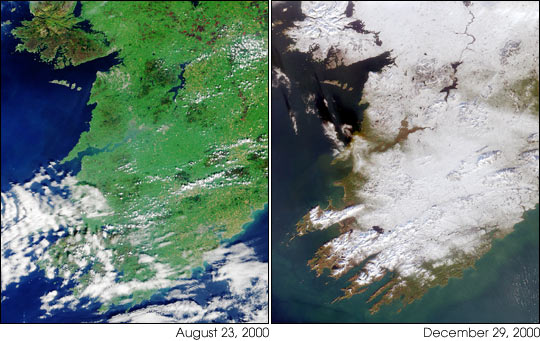 Winter Snowfall Turns Ireland White