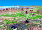 SRTM Perspective View with Landsat Overlay: Bhuj, India