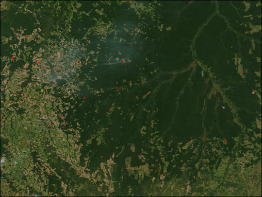 Fires and Deforestation near the Xingu River
