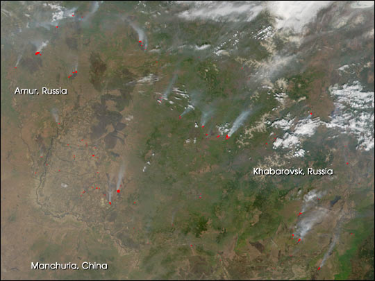 Extensive Fires in Eastern Russia