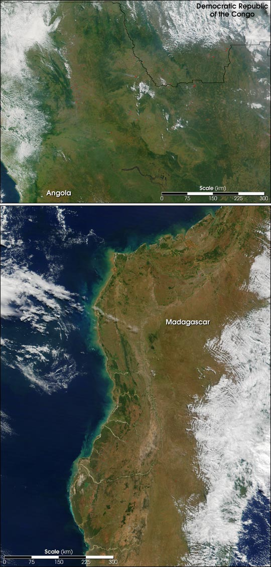Fires in Two African Regions