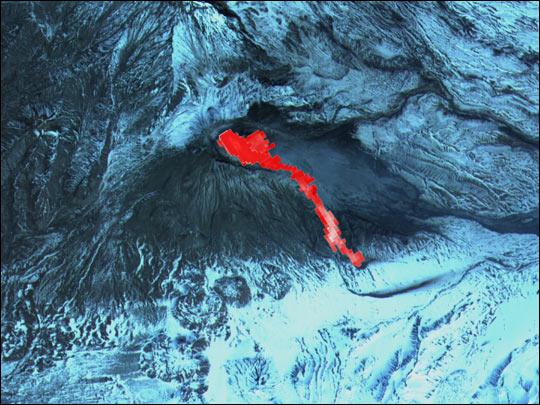 Lava Flow on Bezymianny Volcano