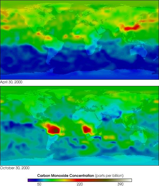 First Global Carbon Monoxide (Air Pollution) Measurements