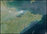 Smoke and Haze over Bo Hai, China