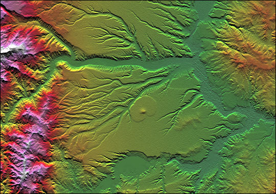 Colored Height and Shaded Relief: Corral de Piedra, Argentina