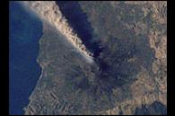 Ash Plume Streams from Mt. Etna, Sicily