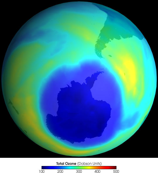 Antarctic Ozone Hole on September 17, 2001