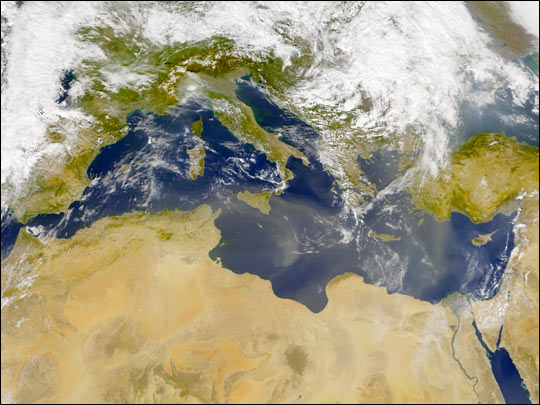 Dust Blankets the Mediterranean