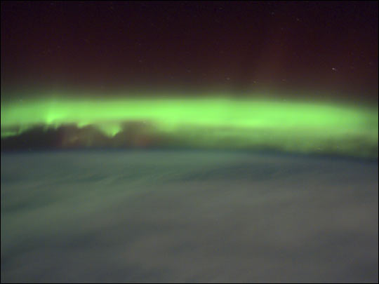 Green Aurora Seen from the Space Station
