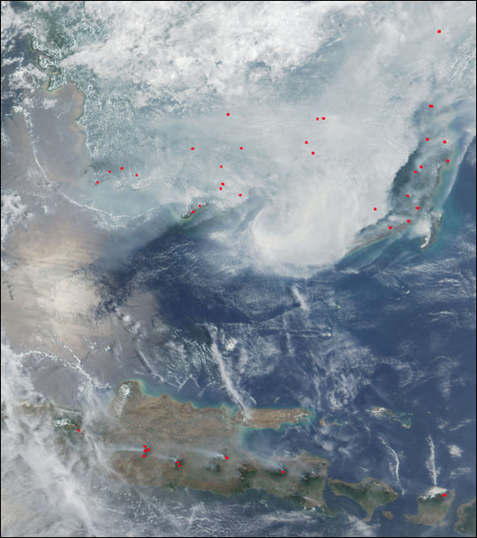 Widlfires and Haze over Borneo