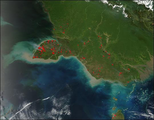 Fires on New Guinea