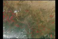 Widely Scattered Fires across Central Africa