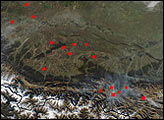Fires in the Foothills of the Caucasus Mountains