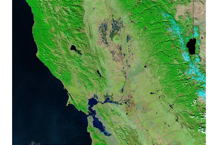 Northern California (before flooding) (false color) - selected image