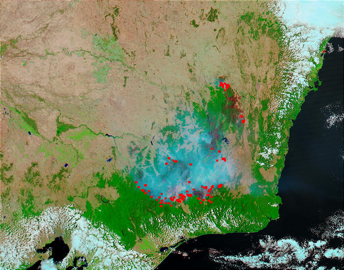 Fires and burn scars in Southeast Australia (false color) - related image preview