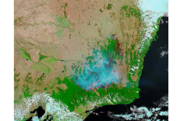 Fires and burn scars in Southeast Australia (false color) - selected image