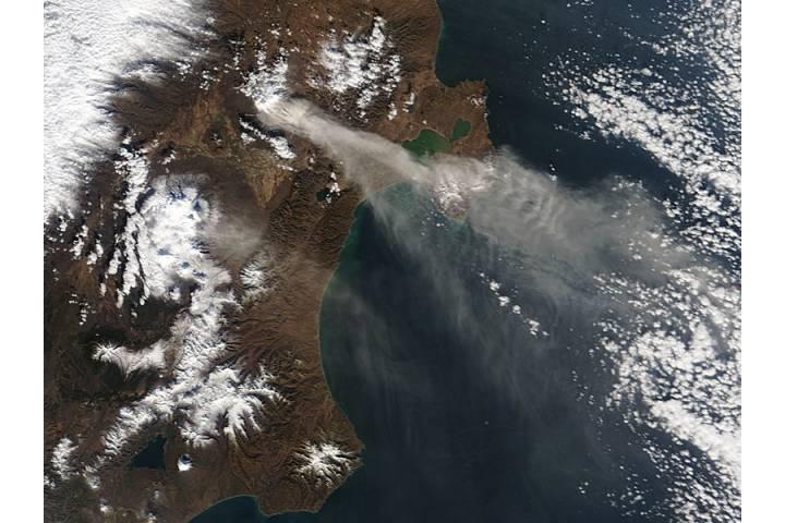 Ash plumes on Kamchatka Peninsula, eastern Russia - selected image